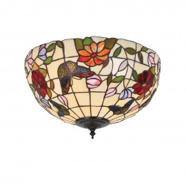 Interiors 1900 70713 Butterfly medium 2lt flush 60W Tiffany art glass