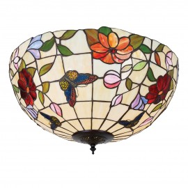 Interiors 1900 70715 Butterfly large 2lt flush 60W Tiffany art glass