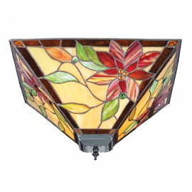 Interiors 1900 70718 Lelani medium 2lt flush 60W Tiffany style glass