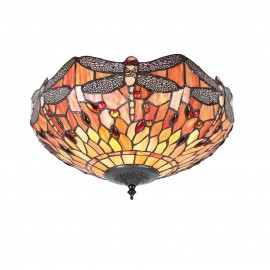 Interiors 1900 70721 Dragonfly flame medium 2lt flush 60W Tiffany style glass