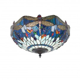 Interiors 1900 70722 Dragonfly blue medium 2lt flush 60W Tiffany style glass