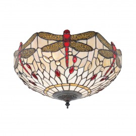Interiors 1900 70723 Dragonfly beige medium 2lt flush 60W Tiffany style glass