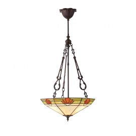 Interiors 1900 70739 Nevada large inverted 3lt pendant 60W Tiffany style glass & dark bronze paint with highlights