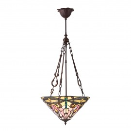 Interiors 1900 70740 Ashton medium inverted 3lt pendant 60W Tiffany style glass & dark bronze paint with highlights