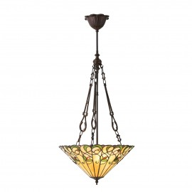 Interiors 1900 70741 Jamelia medium inverted 3lt pendant 60W Tiffany style glass & dark bronze paint with highlights