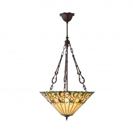 Interiors 1900 70742 Jamelia large inverted 3lt pendant 60W Tiffany style glass & dark bronze paint with highlights