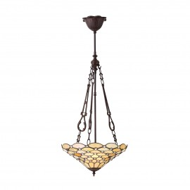 Interiors 1900 70743 Pearl medium inverted 3lt pendant 60W Tiffany style glass & dark bronze paint with highlights
