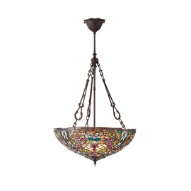 Interiors 1900 70744 Anderson large inverted 3lt pendant 60W Tiffany style glass & dark bronze paint with highlights