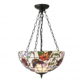 Interiors 1900 70745 Butterfly medium inverted 3lt pendant 60W Tiffany art glass & dark bronze paint with highlights
