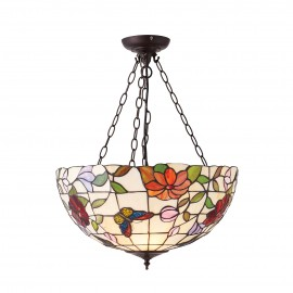Interiors 1900 70746 Butterfly large inverted 3lt pendant 60W Tiffany art glass & dark bronze paint with highlights