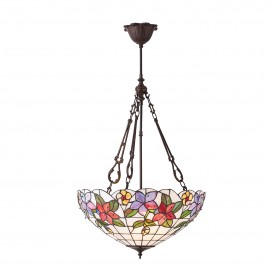 Interiors 1900 70747 Country border large inverted 3lt pendant 60W Tiffany art glass & dark bronze paint with highlights
