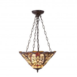 Interiors 1900 70749 Châtelet medium inverted 3lt pendant 60W Tiffany style glass & dark bronze paint with highlights