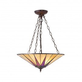 Interiors 1900 70754 Dark star large inverted 3lt pendant 60W Tiffany style glass & dark bronze paint with highlights