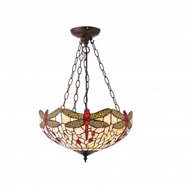 Interiors 1900 70759 Dragonfly beige medium inverted 3lt pendant 60W Tiffany style glass & dark bronze paint with highlights