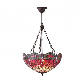 Interiors 1900 70761 Dragonfly red large inverted 3lt pendant 60W Tiffany premium art glass & dark bronze paint with highlights