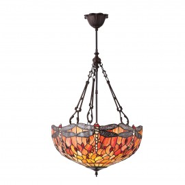 Interiors 1900 70762 Dragonfly flame large inverted 3lt pendant 60W Tiffany style glass & dark bronze paint with highlights