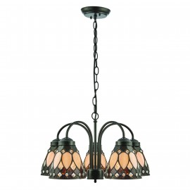 Interiors 1900 74351 Brooklyn 5lt downlight pendant 40W Dark bronze paint with highlights & tiffany style glass