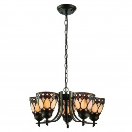 Interiors 1900 74352 Brooklyn 5lt uplight pendant 40W Dark bronze paint with highlights & tiffany style glass