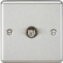Knightsbridge CL015BC Sat TV Outlet - Rounded Edge Brushed Chrome