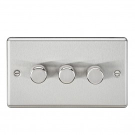 Knightsbridge CL2173BC 3G 2 Way 40-400W Dimmer - Rounded Edge Brushed Chrome