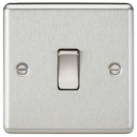 Knightsbridge CL2BC 10A 1G 2 Way Plate Switch - Rounded Edge Brushed Chrome
