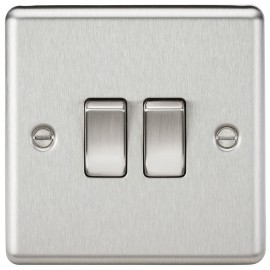Knightsbridge CL3BC 10A 2G 2 Way Plate Switch - Rounded Edge Brushed Chrome