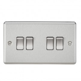Knightsbridge CL41BC 10A 4G 2 Way Plate Switch - Rounded Edge Brushed Chrome
