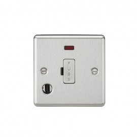 Knightsbridge CL6FBC 13A Fused Spur Unit with Neon & Flex Outlet - Rounded Edge Brushed Chrome