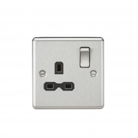 Knightsbridge CL7BC 13A 1G DP Switched Socket with Black Insert - Rounded Edge Brushed Chrome