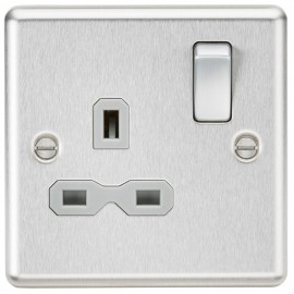 Knightsbridge CL7BCG 13A 1G DP Switched Socket with Grey Insert - Rounded Edge Brushed Chrome