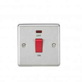 Knightsbridge CL81NBC 45A DP Switch with Neon (single size) - Rounded Edge Brushed Chrome