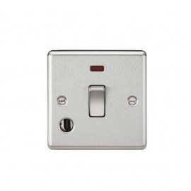Knightsbridge CL834FBC 20A 1G DP Switch with Neon & Flex Outlet - Rounded Edge Brushed Chrome