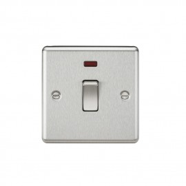 Knightsbridge CL834NBC 20A 1G DP Switch with Neon - Rounded Edge Brushed Chrome