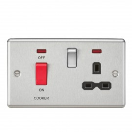 Knightsbridge CL83BC 45A DP Cooker Switch & 13A Switched Socket with Neons & Black Insert - Rounded Edge Brushed Chrome