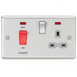 Knightsbridge CL83BCG 45A DP Cooker Switch 13A Switched Socket with Neons & Grey Insert - Rounded Edge Brushed Chrome