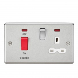 Knightsbridge CL83BCW 45A DP Cooker Switch & 13A Switched Socket with Neons & White Insert - Rounded Edge Brushed Chrome