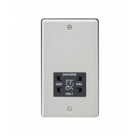 Knightsbridge CL89BC 115-230V Dual Voltage Shaver Socket with Black Insert - Rounded Edge Brushed Chrome