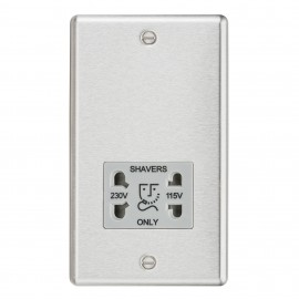 Knightsbridge CL89BCG 115-230V Dual Voltage Shaver Socket with Grey Insert - Rounded Edge Brushed Chrome