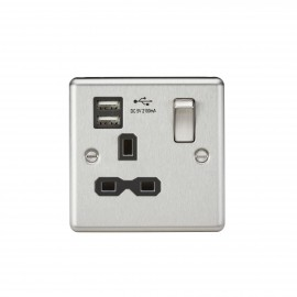 Knightsbridge CL91BC 13A 1G Switched Socket Dual USB Charger Slots with Black Insert - Rounded Edge Brushed Chrome