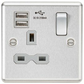 Knightsbridge CL91BCG 13A 1G Switched Socket Dual USB Charger Slots with Grey Insert - Rounded Edge Brushed Chrome