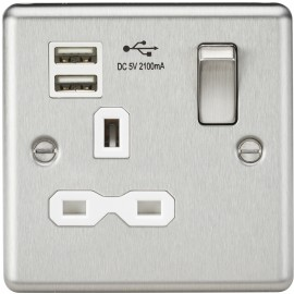 Knightsbridge CL91BCW 13A 1G Switched Socket Dual USB Charger Slots with White Insert - Rounded Edge Brushed Chrome