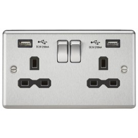 Knightsbridge CL92BC 13A 2G Switched Socket Dual USB Charger Slots with Black Insert - Rounded Edge Brushed Chrome