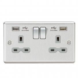 Knightsbridge CL92BCG 13A 2G Switched Socket Dual USB Charger Slots with Grey Insert - Rounded Edge Brushed Chrome