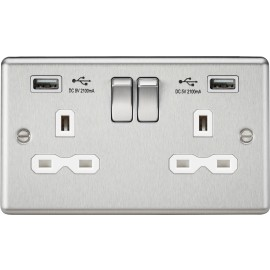 Knightsbridge CL92BCW 13A 2G Switched Socket Dual USB Charger Slots with White Insert - Rounded Edge Brushed Chrome