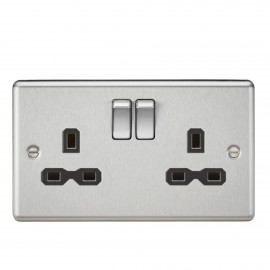 Knightsbridge CL9BC 13A 2G DP Switched Socket with Black Insert - Rounded Edge Brushed Chrome