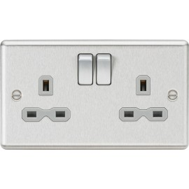 Knightsbridge CL9BCG 13A 2G DP Switched Socket with Grey Insert - Rounded Edge Brushed Chrome