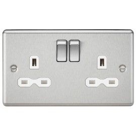 Knightsbridge CL9BCW 13A 2G DP Switched Socket with White Insert - Rounded Edge Brushed Chrome