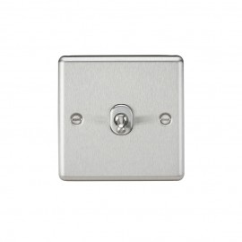 Knightsbridge CLTOG1BC 10A 1G 2 Way Toggle Switch - Rounded Brushed Chrome Finish