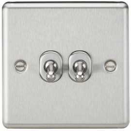 Knightsbridge CLTOG2BC 10A 2G 2 Way Toggle Switch - Rounded Brushed Chrome Finish