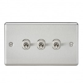 Knightsbridge CLTOG3BC 10A 3G 2 Way Toggle Switch - Rounded Brushed Chrome Finish